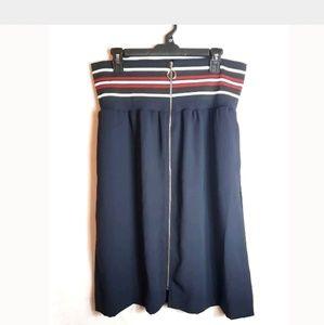 Zara Basic Navy Red White Zip On High Waist Skirt